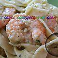Pâtes sauce courgettes, scampis et chorizo ( au thermomix )