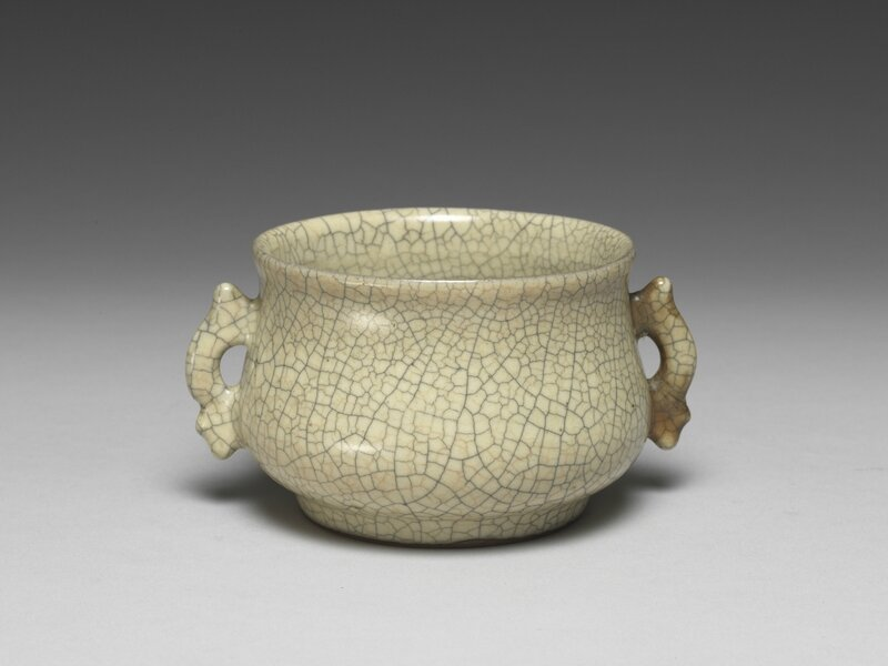 Censer with fish-shaped handles in cream-colored celadon glaze, Yuan dynasty, 14th century