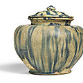 A blue-splashed jar and cover, tang dynasty (618-607)