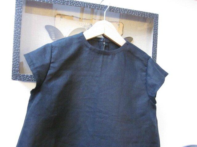 Robe trapèze THERESE en lin noir et ruché de tulle souple rose à pois bruns - Manches très courtes - Fermée par 3 petits boutons recouverts dans le dos (13)