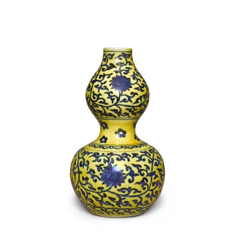 A yellow-ground underglaze-blue 'double-gourd' vase, Mark and period of Jiajing (1522-1566)