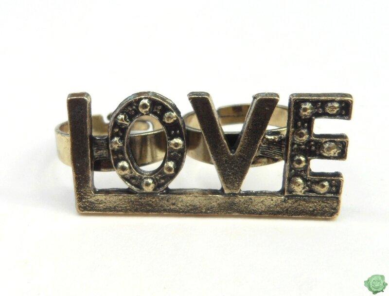 Bague Fashion 2 Doigts Style Vintage Love Sculpté Métal Couleur Bronze Ajustable