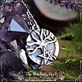 Pendentif arbre de vie et pentagramme - pierre de lune arc-en-ciel
