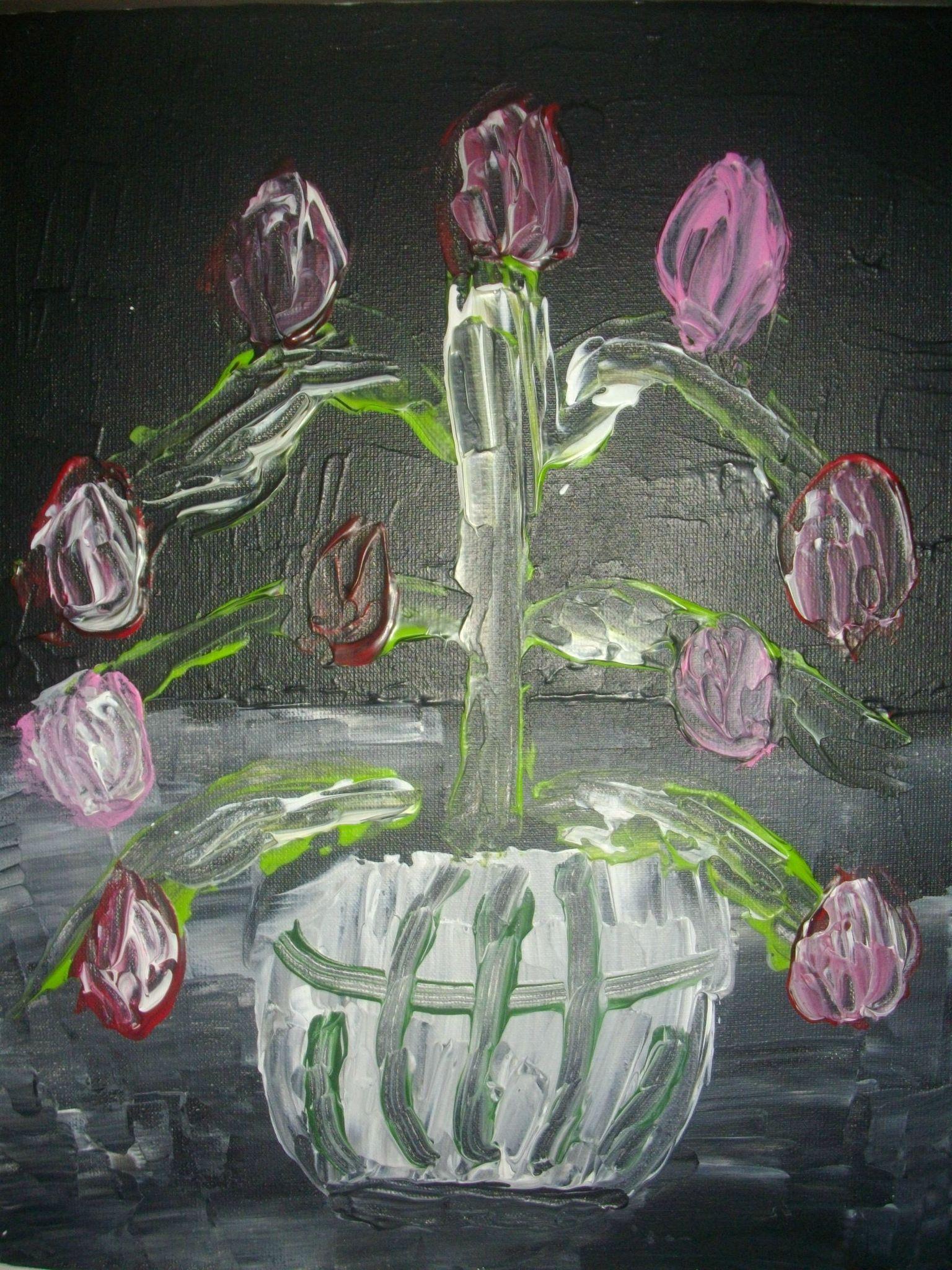 toile peinte à l'acrylique