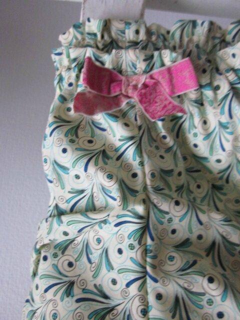 Culotte en coton écru imprimé plumettes turquoise et vert - taille S (2)