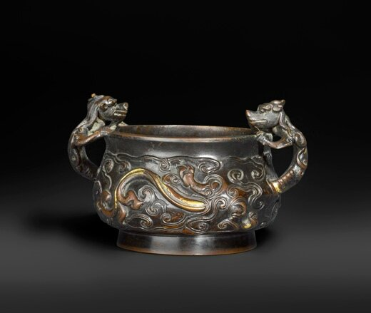 A Gold-Splashed Bronze 'Dragons in Clouds' Censer
