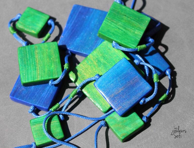 s carrés bleus verts