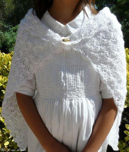 2008 08 - Première communion de Fillette, modèle Phildar (détai
