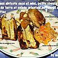 Pintade aux abricots et au miel, petits coeurs de pommes de terre, salade orientale au fenouil et aux carottes
