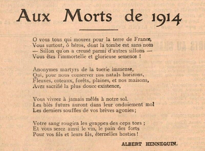Aux morts de 1914 Albert Hennequin (1)
