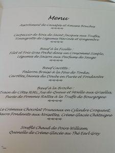 2011 11 24 - Chateau du Mont Joly à Sampans - Catherine et Romuald Fassenet - le menu du déjeuner (1)