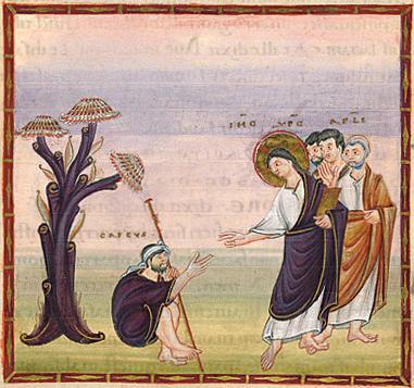 Guérison de l'aveugle de Jéricho, évangéliaire d'Egbert, 10e s