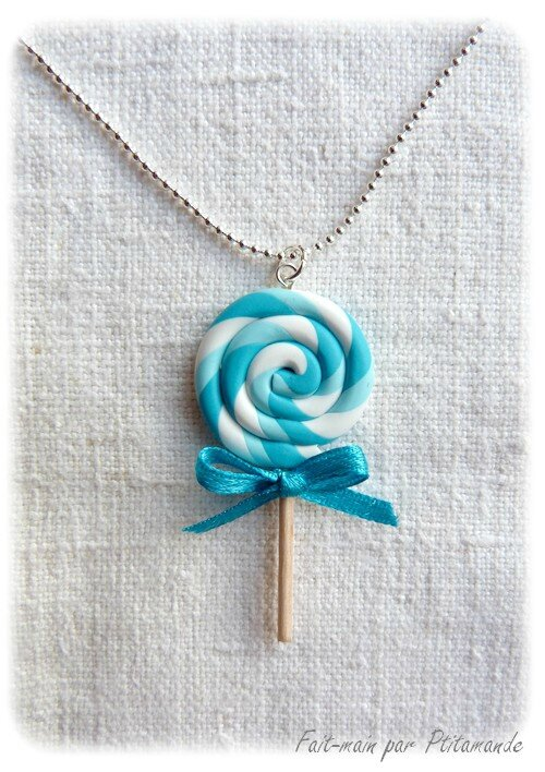 Collier sucette turquoise (1)