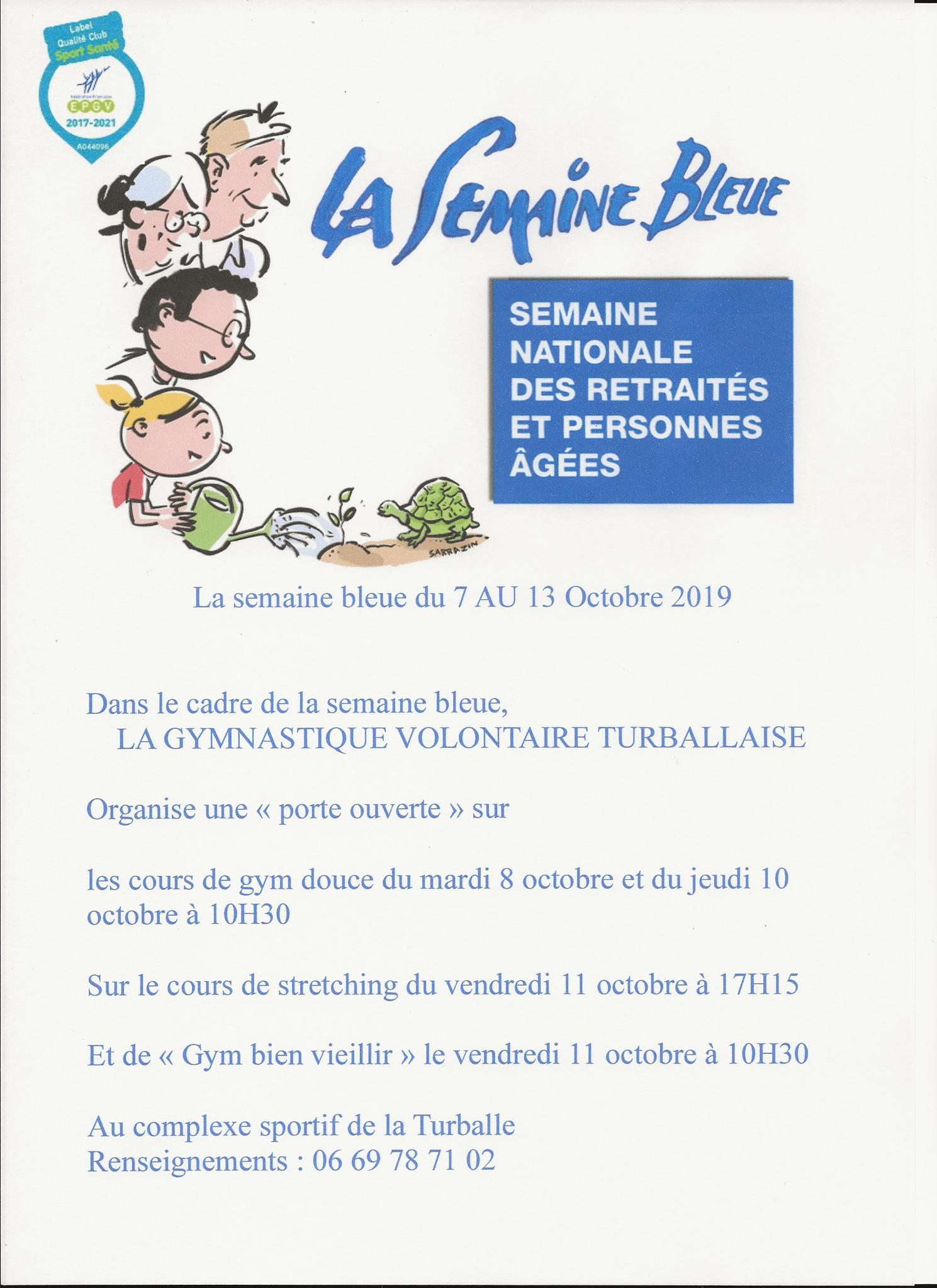 """Semaine bleue du 7 au 13 octobre 2019 - """"Portes ouvertes"""""""