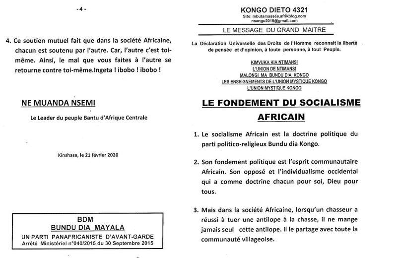 LE FONDEMENT DU SOCIALISME AFRICAIN a