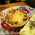 Cassolettes gratinées de poireaux et champignons