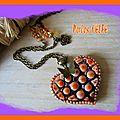 Parure collier coeur emaillé, céramique artisanale & bo perles bicolores