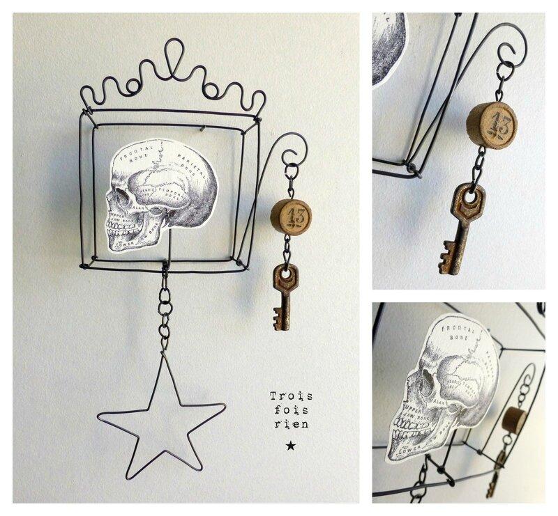 Mini box N°12B, fil de fer, wire, crâne, skull, trois fois rien