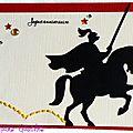Carte d'anniversaire pour garçon avec chevalier et touche de broderie