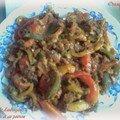 Salade d'aubergines à la tomate et poivrons