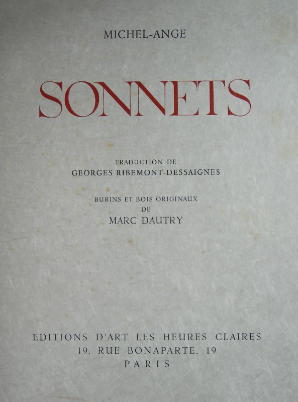 Dautry, Marc, Michel-Ange, Sonnets (1)