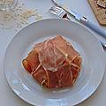 Risotto champignons de paris et cèpes parfumé à l'huile de truffe blanche en papillote de jambon de parme