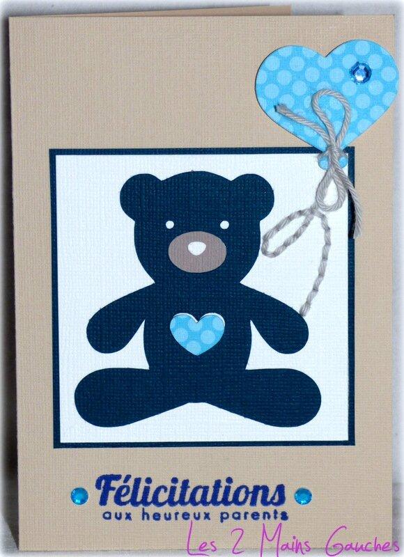 carte de naissance garçon avec ourson et ballon