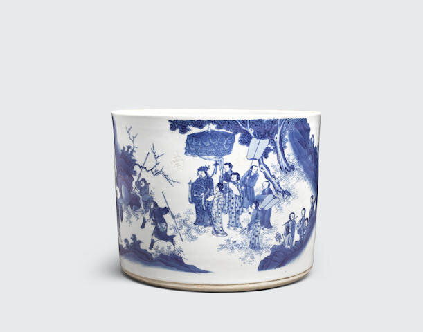 A large blue and white cylindrical brush pot, bitong, Transitional period, with later inscription