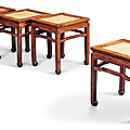 A rare set of four rectangular huanghuali stools, changfangdeng, late ming-early qing dynasty, 17th-18th century