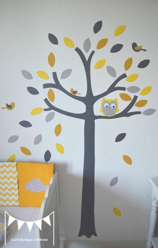 stickers arbre gris jaune blanc hibou chouette oiseaux feuilles - décoration chambre bébé jaune gris blanc