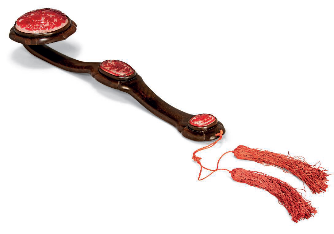 A red overlay glass inset hardwood ruyi sceptre, 20th century