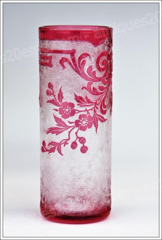 Paire de vases rouleaux cristal Baccarat Art Nouveau, Baccarat crystal vases
