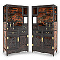A very fine and rare pair of carved zitan and lacquer-decorated cabinets, 19th century