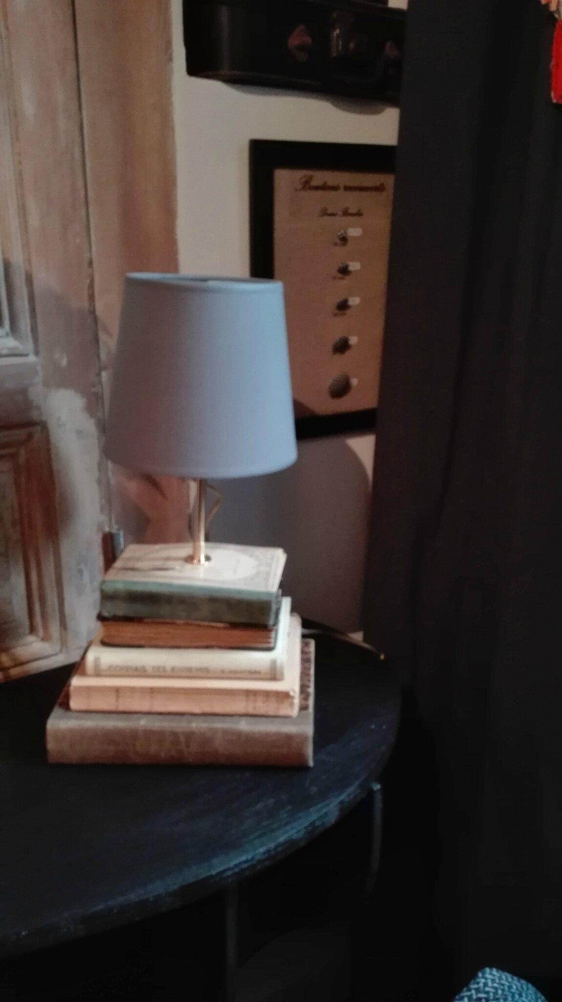 Lampe livres anciens - abat-jour gris