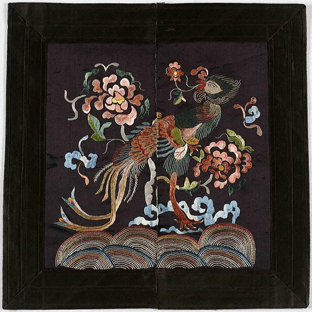 Pair of phoenix and dragon badges, Viet Nam, 20th century; embroidered silk, 31.0 x 31.0 cm. Gift of Judith and Ken Rutherford 2006, 301.2006.a-b. Art Gallery of New South Wales, Sydney (C) Art Gallery of NewSouth Wales, Sydney