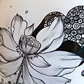 Peinture florale sur vase porcelaine: le lotus