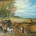 Jan brueghel ii (antwerp 1601-1678), travelers with carts and a wagon on a country road, a city beyond
