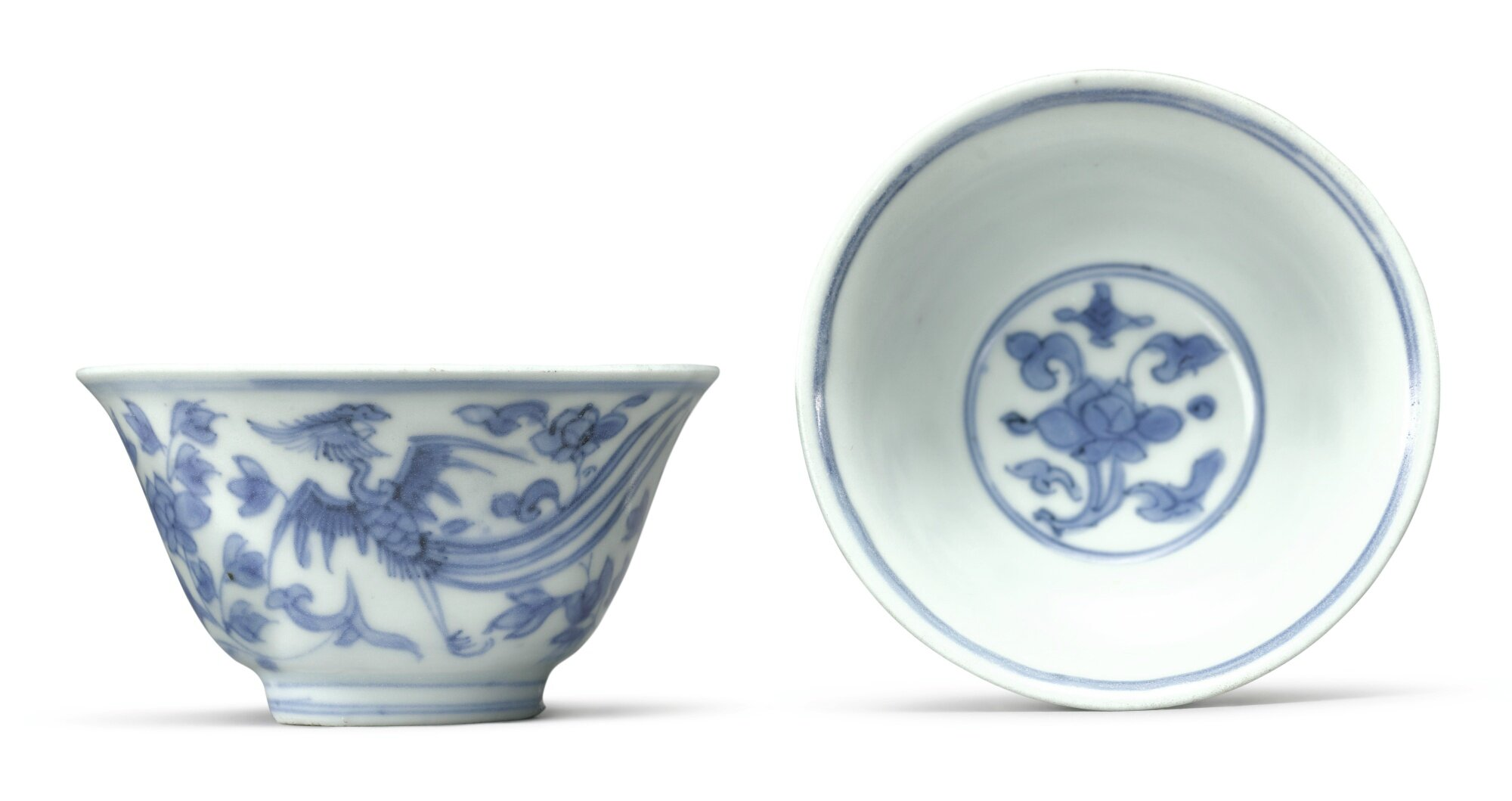 A pair of blue and white 'phoenix' cups, Jiajing marks and period (1522-1566)