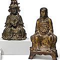 Two bronze figures of deities, ming dynasty (1368-1644)