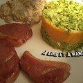 Canard, patidou, brocolis et champignons, pour un repas de saison!