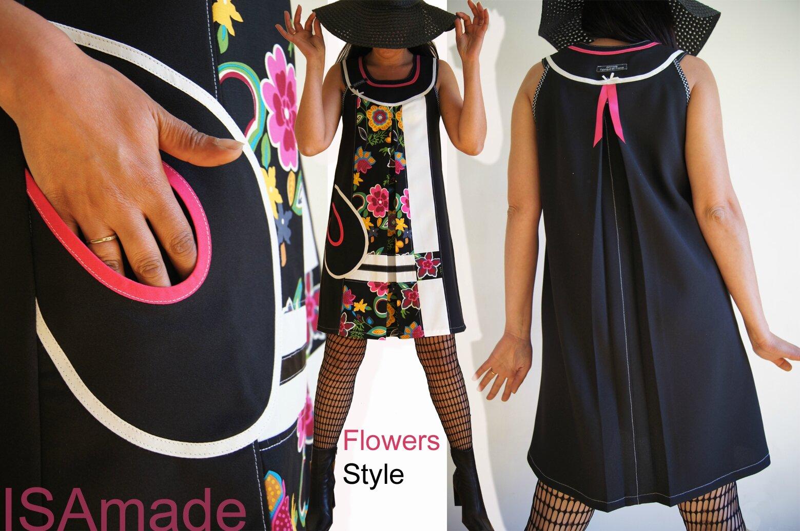 Robe trapèze de style Sixties Noire/ écru imprimé Fleurs