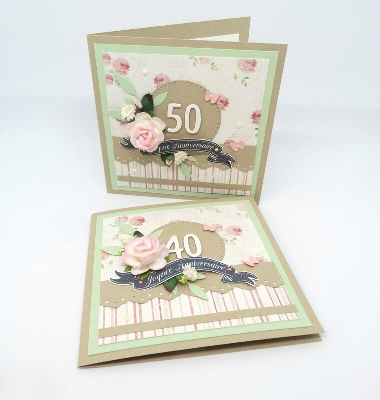 Cartes anniversaire Shabby chic 1