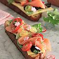 Tartines fraicheur au fromage appenzeller saumon fume et pesto de fane de radis et basilic