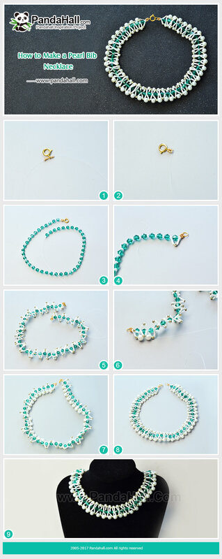 5-Bib necklace with pearls and crystal beads