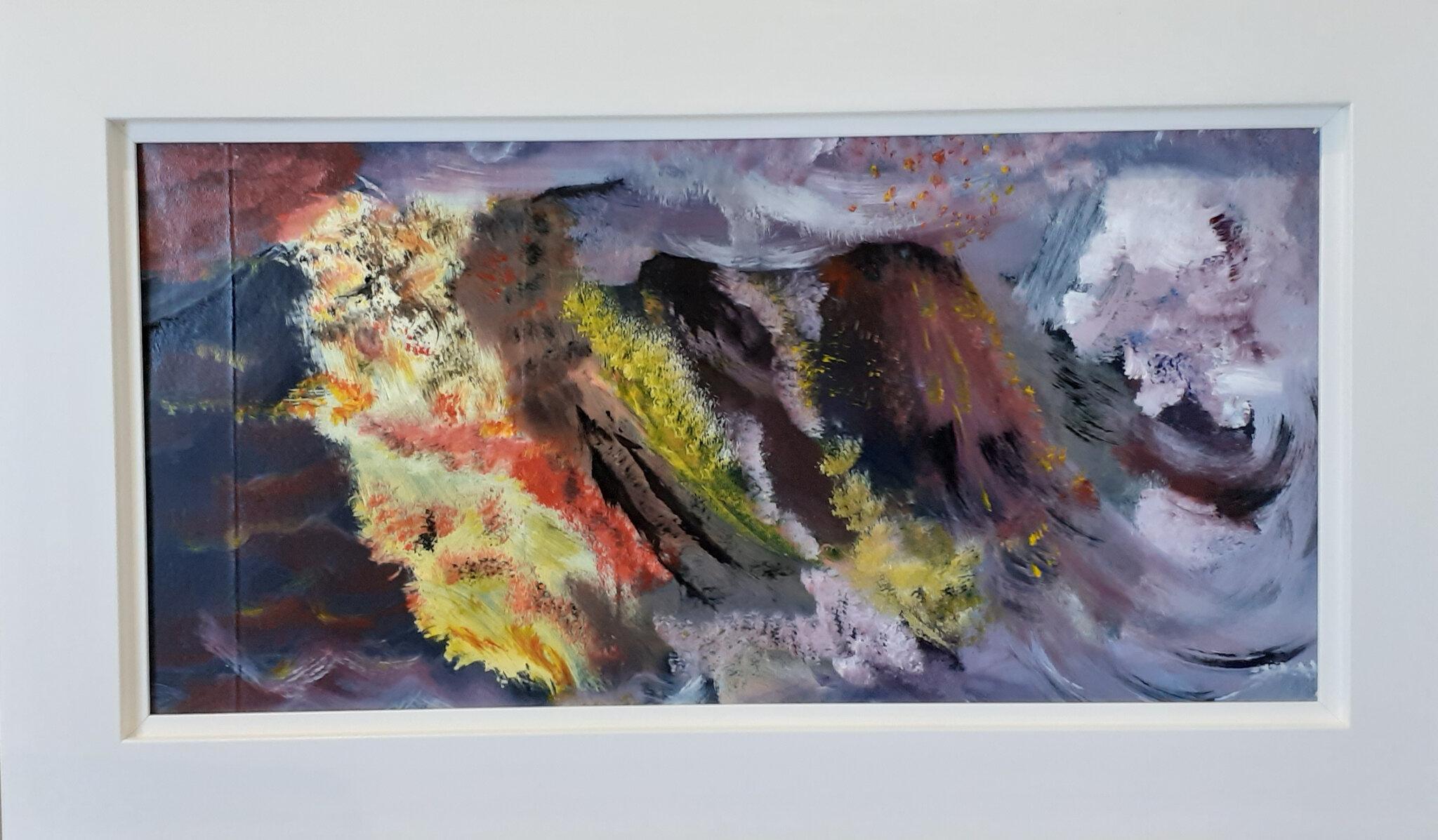 Colères de la Terre, acryl sur cuir, 60X30cm (n°176) cadre blanc