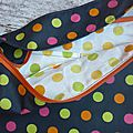 sac noir pois vert anis orange et rose doublure pois orange