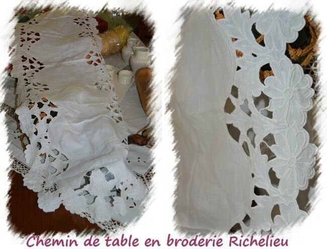 Chemin de table en broderie richelieu