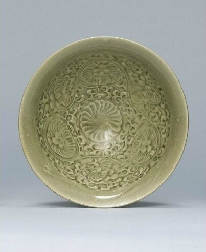 A moulded Yaozhou celadon bowl, Song dynasty (960-1279)