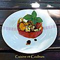 Tranche de coeur de boeuf et sa petite salade colorée