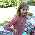 Pull à plastron torsadé et emmanchures marteau (taille 8 ans)